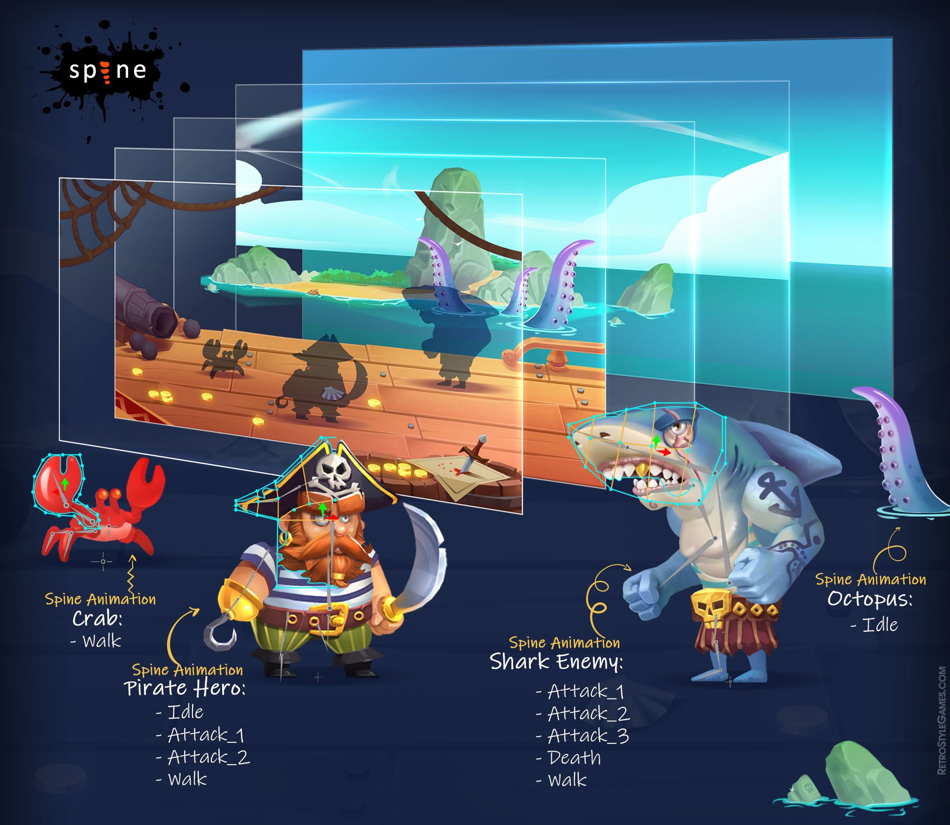 Pirate Character Concept Art Ship 2D Spine Animation Download Assets