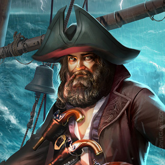 Pirate Character Illustration Storm Captain Blackbeard