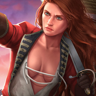Pirate Character Illustration Young Girl Redhead