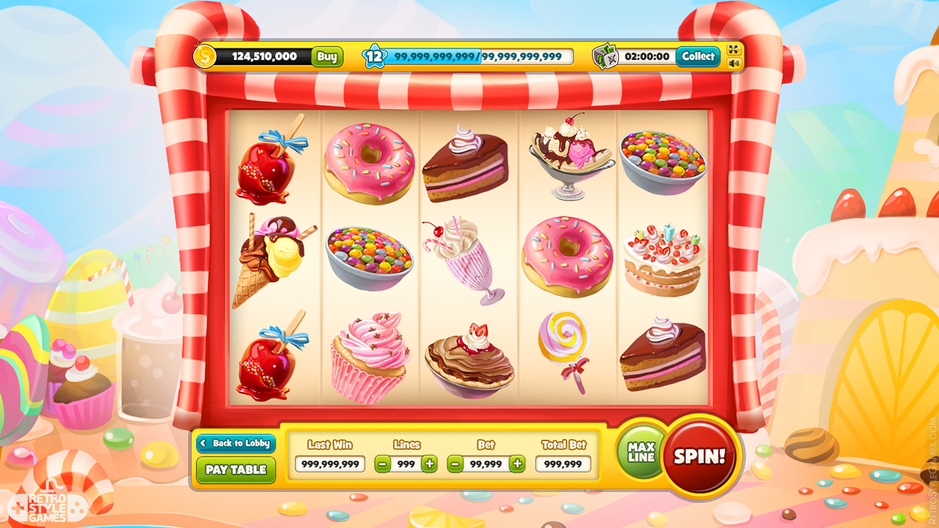 Slot Machine Game Icon Candy Sweet Cake GUI