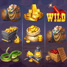 Slot Machine Game Icon Cowboy TNT Boots Lamp GUI