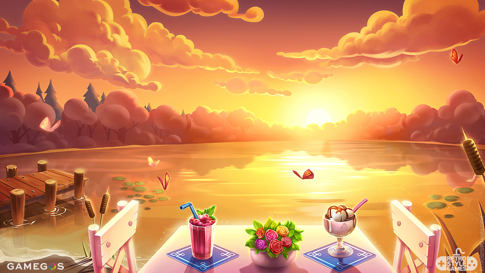 2D Illustration Game Background Shore Lake