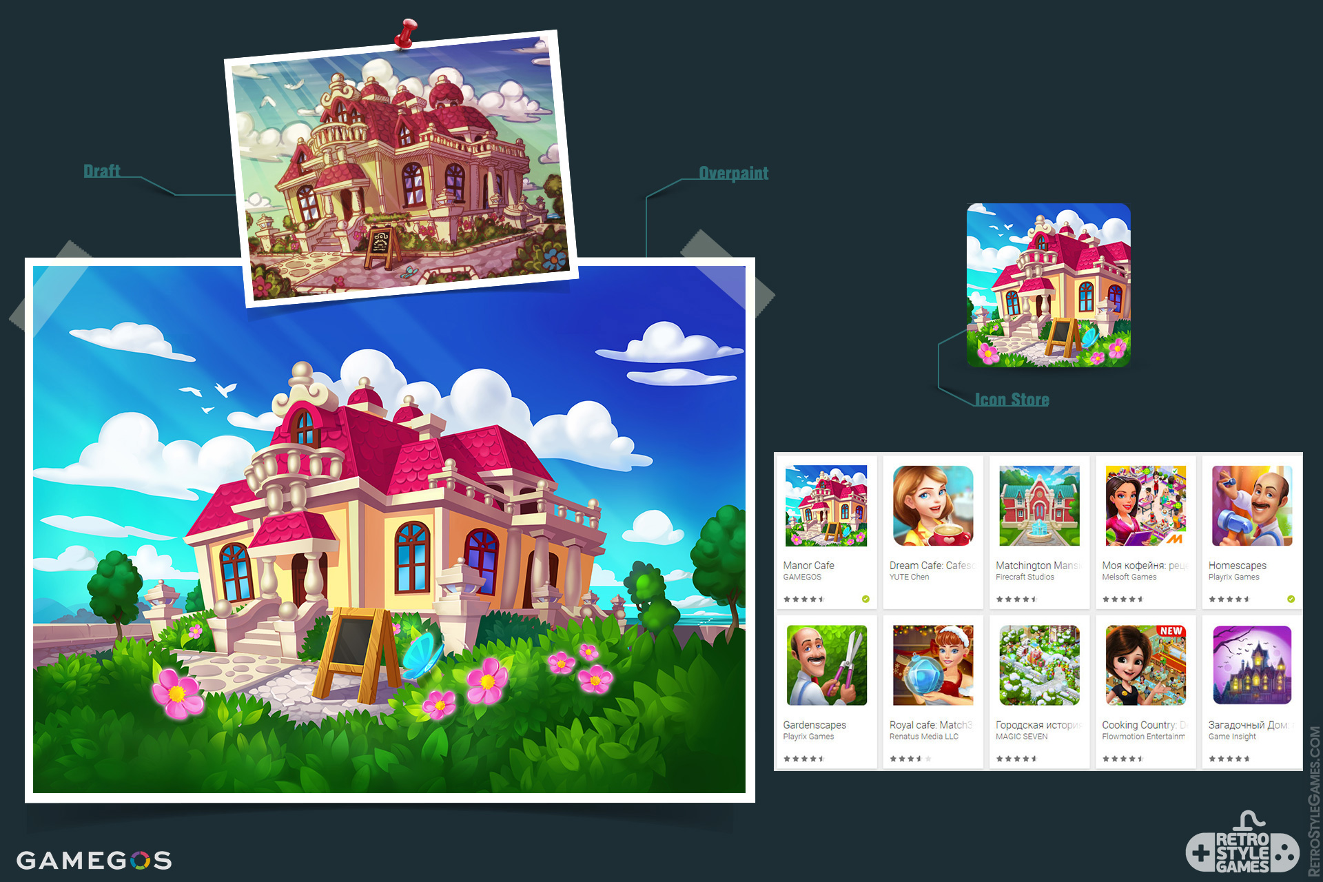 2D Illustration Game Icons Mansion Manor Cafe Overpaint