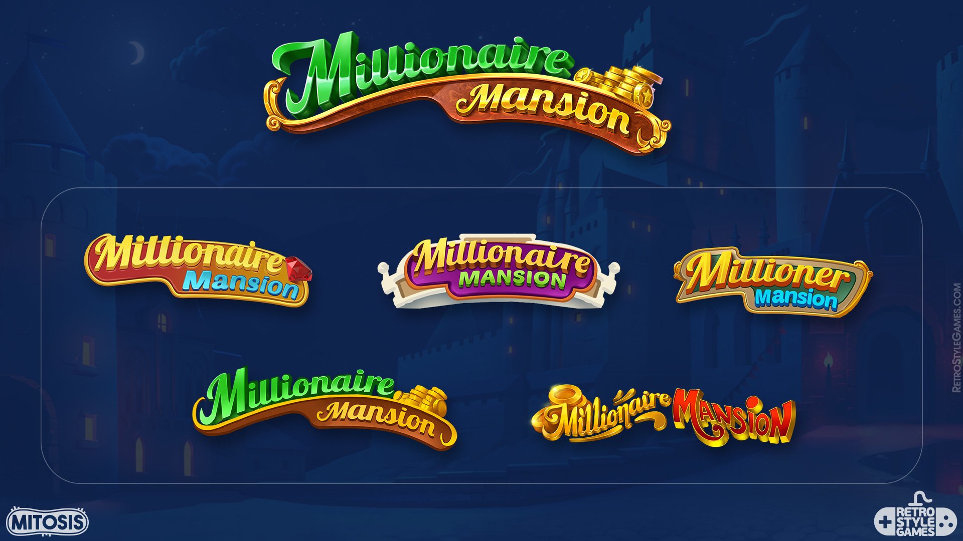 2D Illustration Game Logo Version Millionaire Mansion Concept