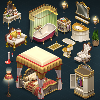 Isometric Interior 3D Sprites – Millionaire Mansion (Homescapes)