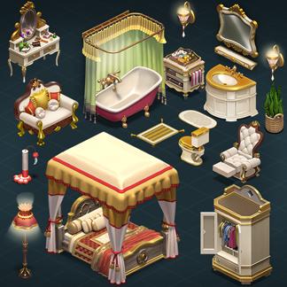 Isometric Interior 3D Sprites – Millionaire Mansion (Homescapes)