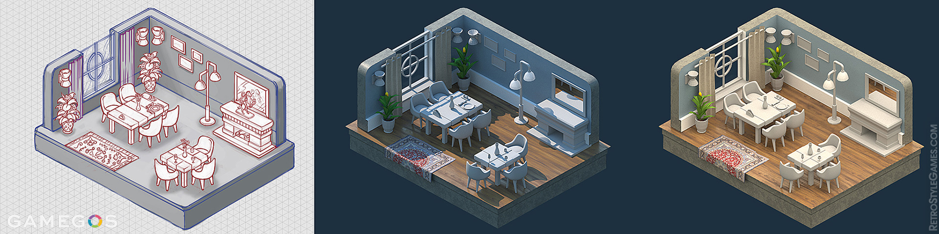How to Isometric 3D Model Room Interior Clay Render