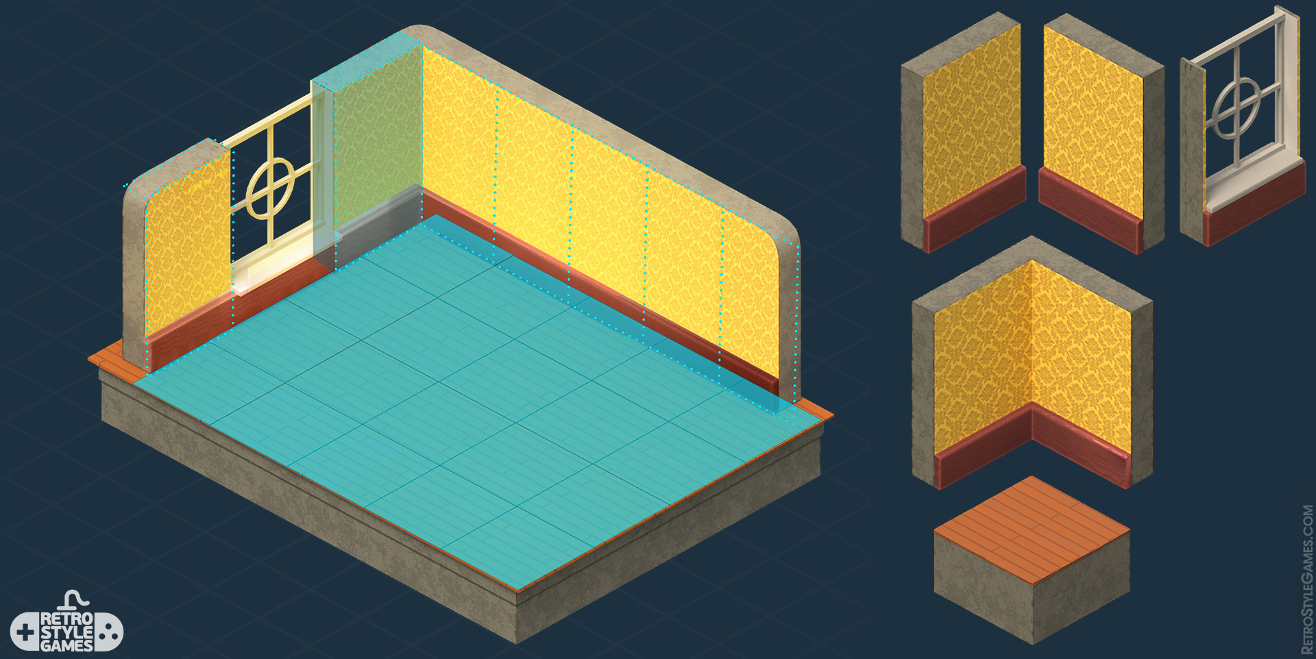 How to Isometric 3D Tiles Grid Size Walls Floor