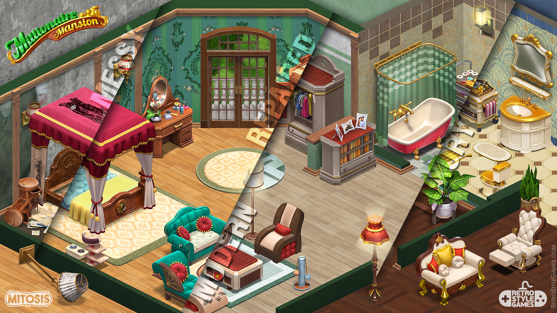 Isometric Game 3D Sprites Interior Pre rendered Homescapes Mansion