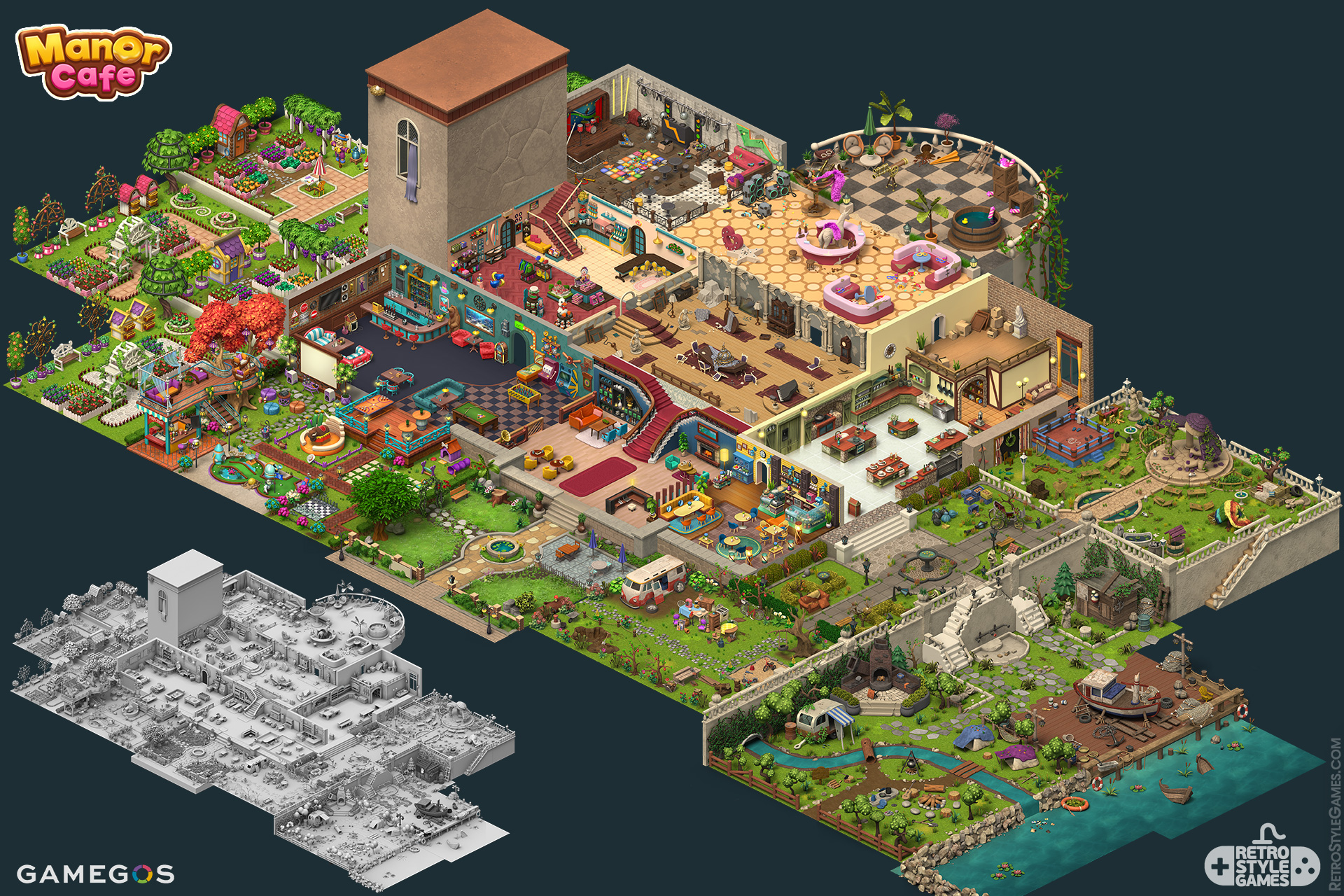 Isometric Mansion ISO Game Interior Environment Gardenscapes Sprites