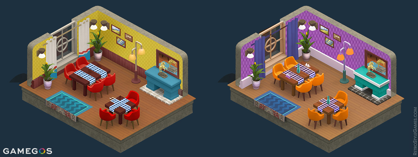 Pre-Rendered Isometric 3D Sprite Room Interior Textures