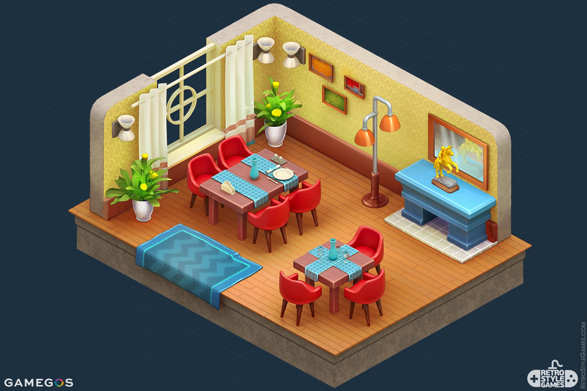 Pre-Rendered Isometric 3D Sprite Room Interior