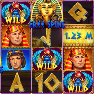 Slot Machine Game Icon Stylized Egypt Pharaoh Scarab