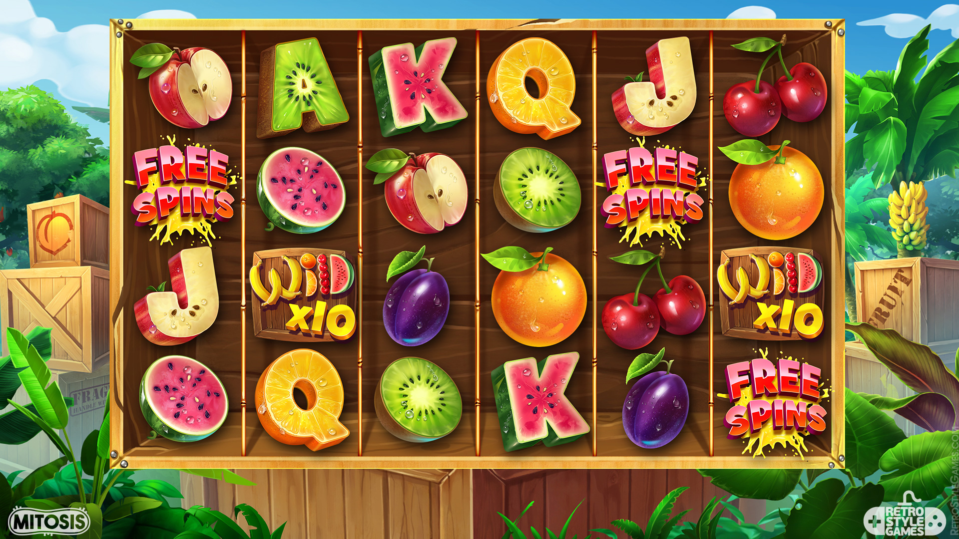 Slot Machine Game Icon Stylized Fruit Jungle Tropics