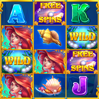 Slot Machine Game Icon Stylized Underwater Mermaid Ariel