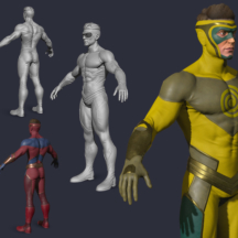 3D Character Design Superhero Sci-fi X-Man Booster Gold