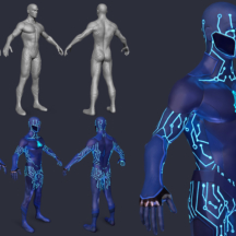 3D Character Design Superhero Sci-fi X-man Rigging Black Lighting