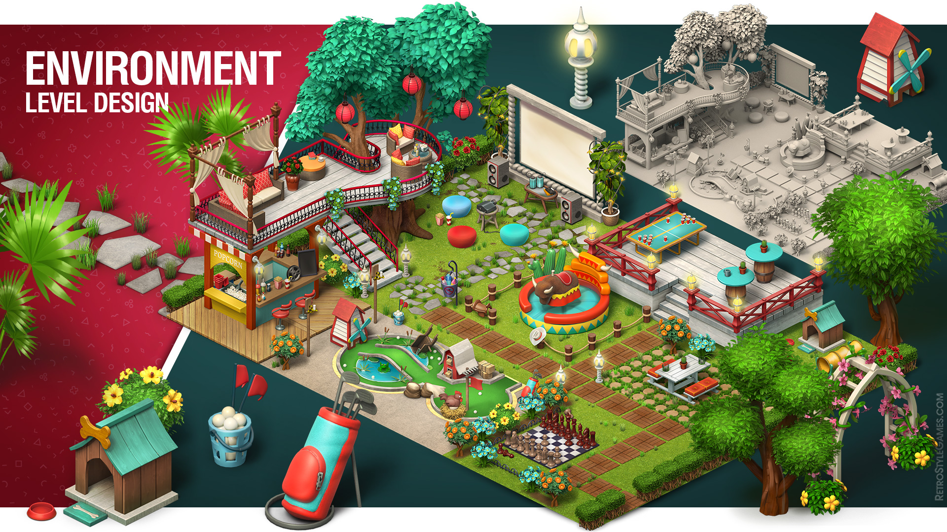 Environment 3D Modeling Level Design Low Poly Props Top