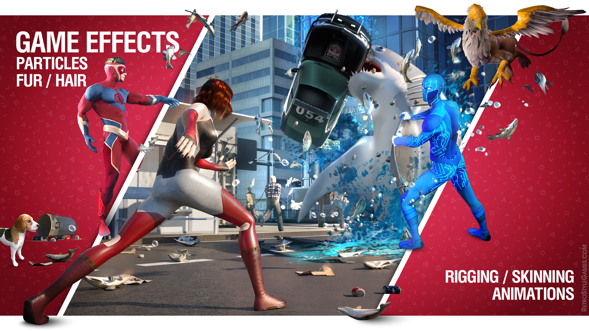 Game FX Effects Rigging Skinning Animation Ragdoll Simulation