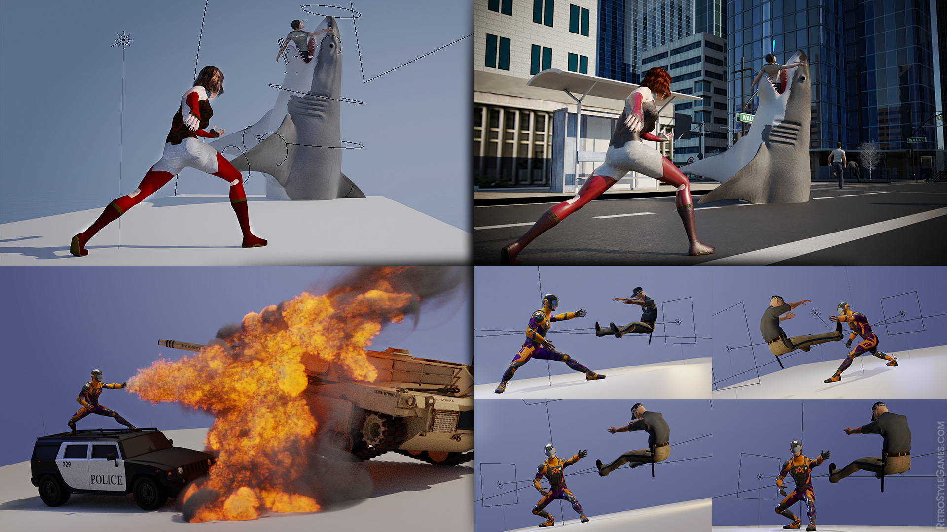 Hero 3D Environment Setting Special Effects Animation Ragdoll Simulation