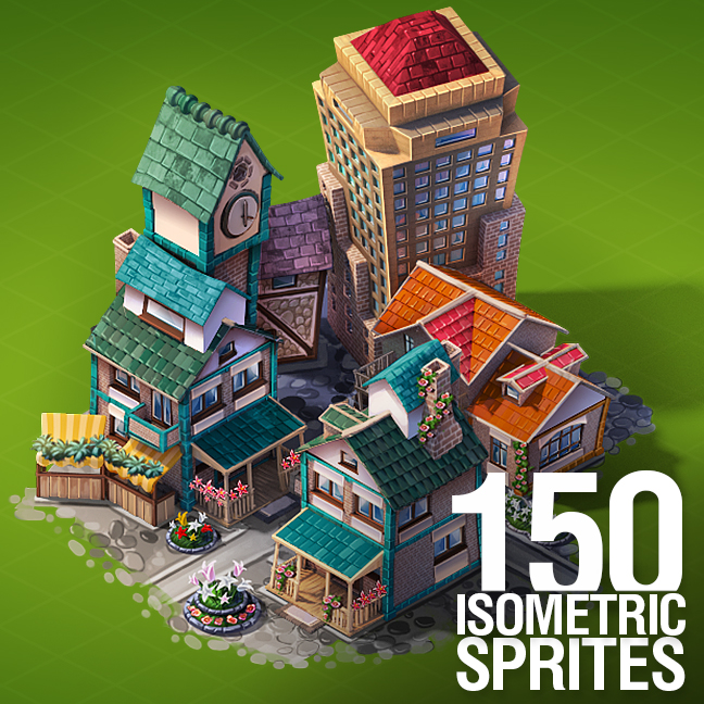 Icon Isometric 3D Game Sprites Train Building Town