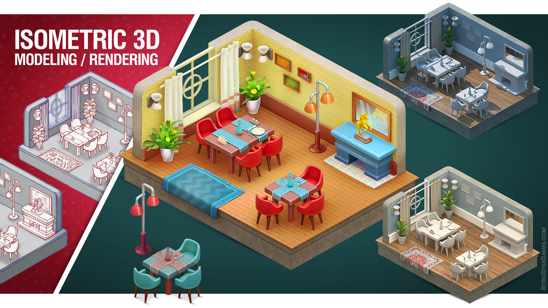 Isometric Room 3D Modeling Rendering How to Make