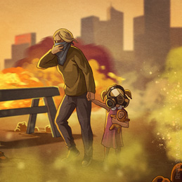 Quarantine 2D Background Street Epidemy Mother Girl Illustration