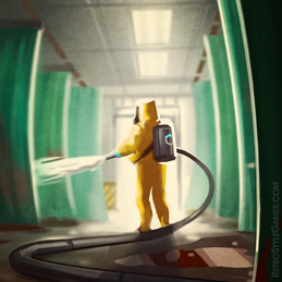 Quarantine Hospital Background Space Suit Epidemy Characters