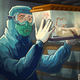 Quarantine Lab Rat Experiments Protective Suit 2D Illustration