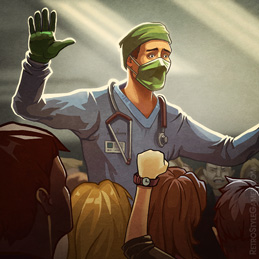 Quarantine Plague Doctor Crowd Panic 2D Illustration