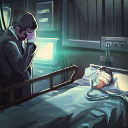 Quarantine Plague Patient Hospital Visit 2D Illustration