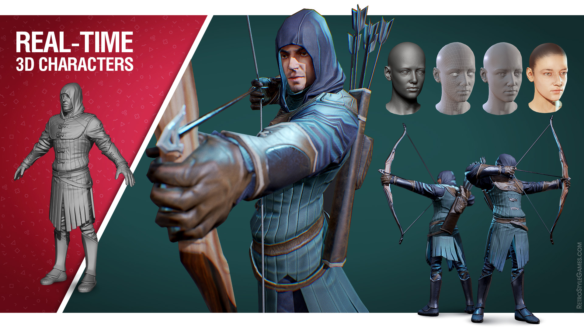 Real Time 3D Modeling Characters Portfolio Archer Face