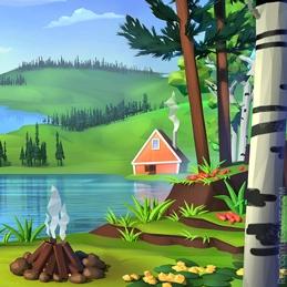 2D Background Polygon Stylized Landscape Lake