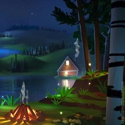 2D Background Polygon Stylized Landscape Lake Night