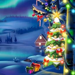 2D Background Polygon Stylized Landscape Lake Night Christmas