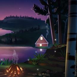 2D Background Polygon Stylized Landscape Lake Sunset