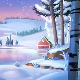 2D Background Polygon Stylized Landscape Lake Winter
