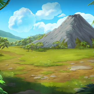 2D Game Background Paths Black Rock Volcano
