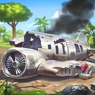 2D Game Background Paths Desert Island Plane Crash