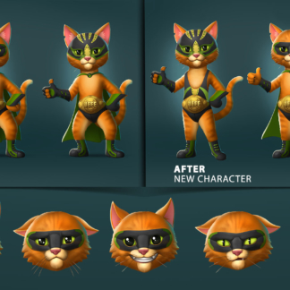 2D Stylized Character Cat Before After Face Emotions