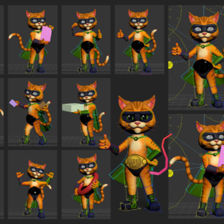 3D Character Cat CG Animation Cinematic Body Poses