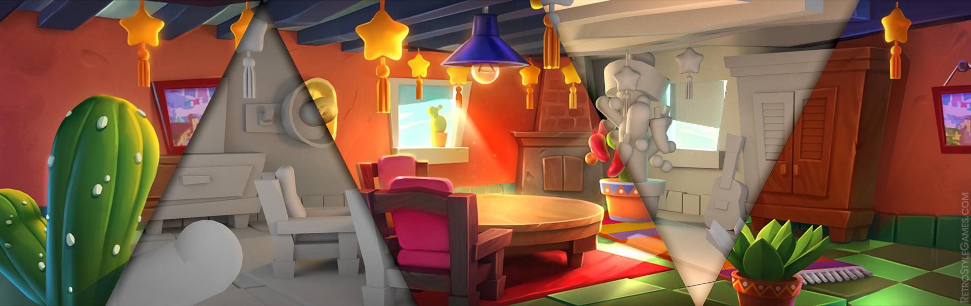 Blending 2D 3D Modeling Background Homepage Interior