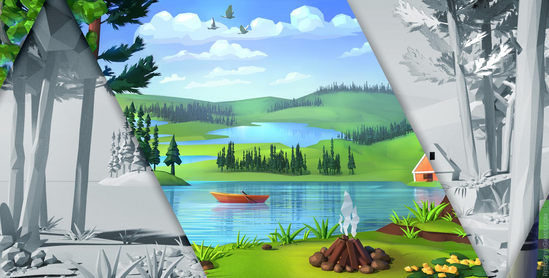 Blending 2D 3D Modeling Background Polygon Stylized Landscape Lake