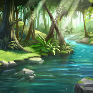 Paths 2D Game Background Jungle Forest River