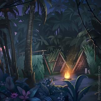 Paths Desert Island 2D Game Background Hostile Forest Camp