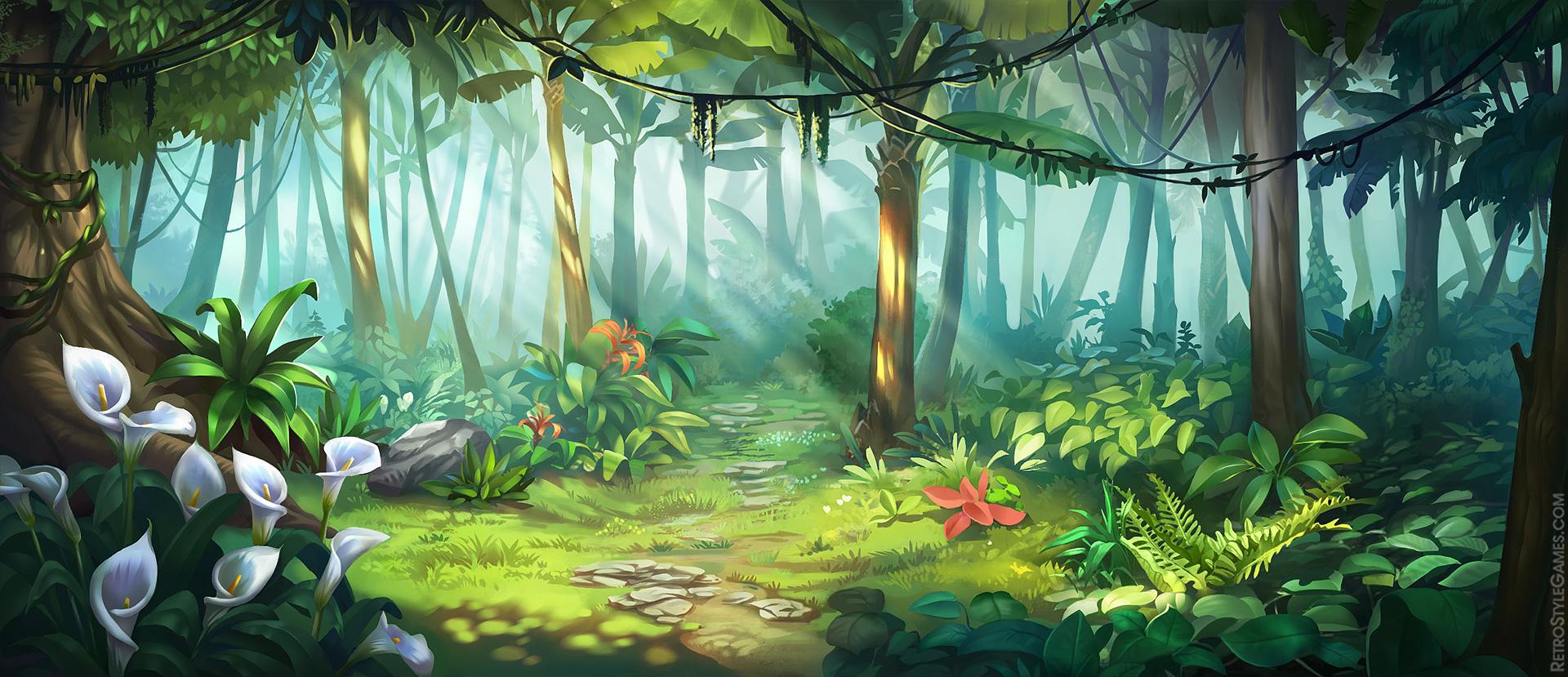 Paths Desert Island 2D Game Background Hostile Jungle