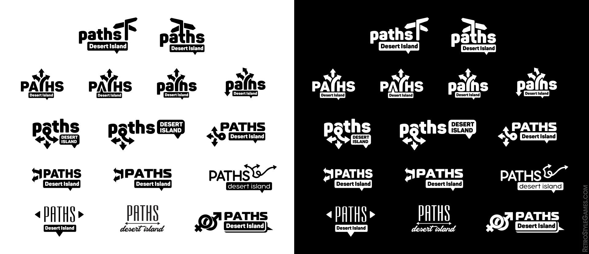 Paths Desert Island 2D Game Logo Vector Illustration