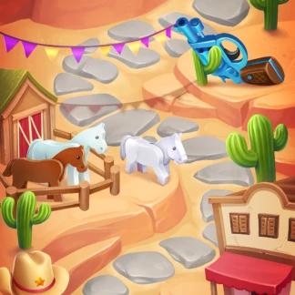 Toy 2D Background Levels Games Match-3 Western Westworld
