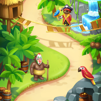 Toy Blast 2D Game Map Background Match-3 Jungle