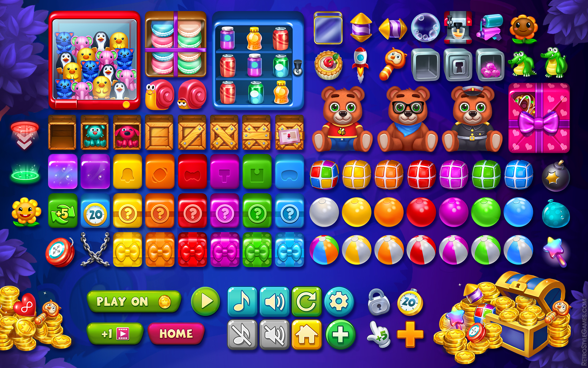 Toy Cartoon IAPs Game Icon Set Chest Gems Boost Buttons